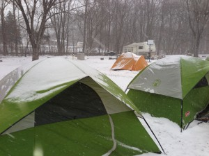 Cold weather at a weekend scout camp